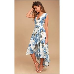 Lulu's White Countryside Floral Low High Dress